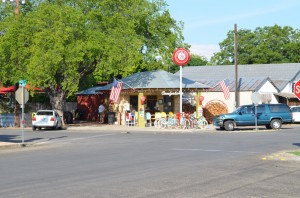 Comfort Pizza is located in a former gas station. You can rent those  colorful bikes for only $8.00 a day.