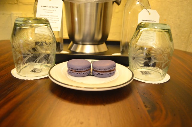 Dark Chocolate Lavender Macarons appear in the hotel's turndown service.