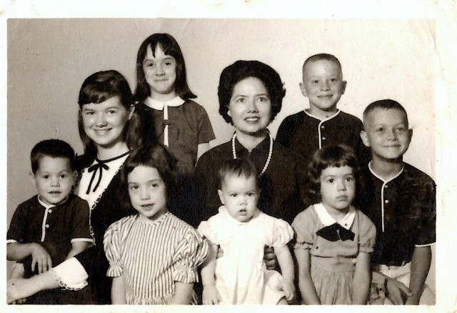 My momma and 8 of her 9 kids. I'm the baby. My little sis wasn't born yet!